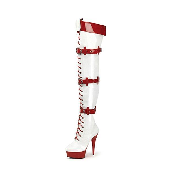 De mujer Piel brillante Tacón stilettos Salón Plataforma Botas Botas sobre la rodilla con Hebilla Cordones zapatos