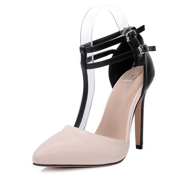 Donna PU Tacco a spillo Stiletto Punta chiusa con Fibbia scarpe