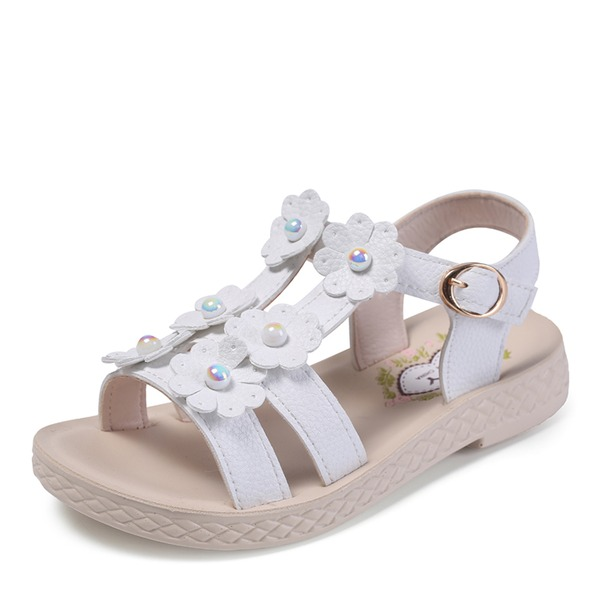 Girl's Peep Toe Leatherette Flat Heel Sandals Flats Flower Girl Shoes With Beading Buckle Flower