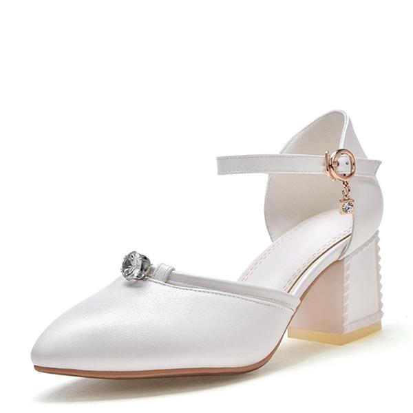 De mujer Cuero Tacón ancho Sandalias Salón Cerrados Mary Jane con Hebilla zapatos