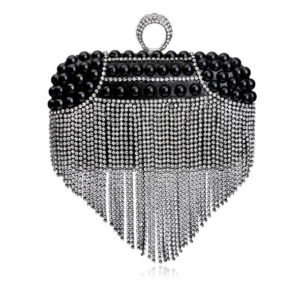 Elegante Cristal / Diamante/Perlas de imitación Bolso Claqué