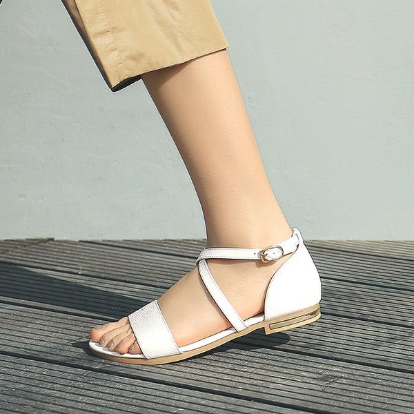 Femmes Vrai cuir Talon plat Sandales Chaussures plates À bout ouvert avec Boucle chaussures