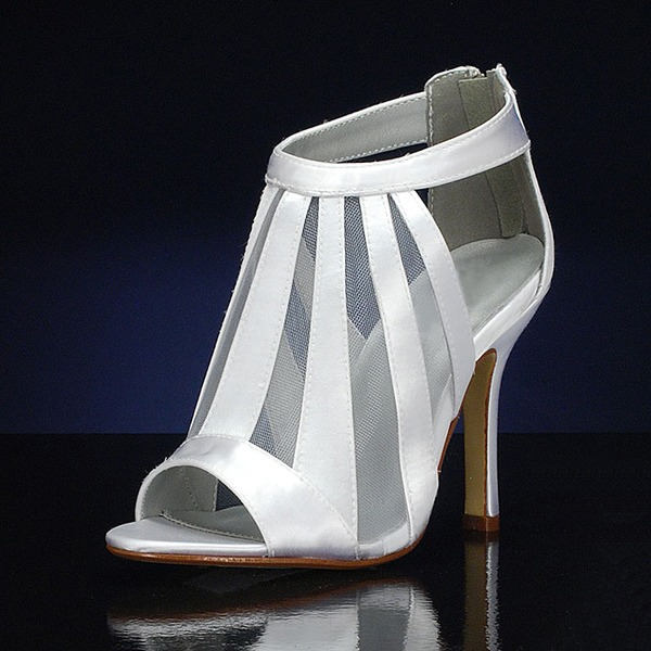 Women's Silk Like Satin Stiletto Heel Peep Toe Sandals With Hollow-out