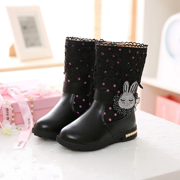 Girl's Round Toe Mid-Calf Boots Leatherette Flat Heel Flats Boots With Flower Zipper