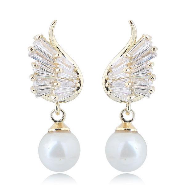 Lysande Fauxen Pärla Zirkon koppar med Oäkta Pearl Zirkon Kvinnor Mode örhängen