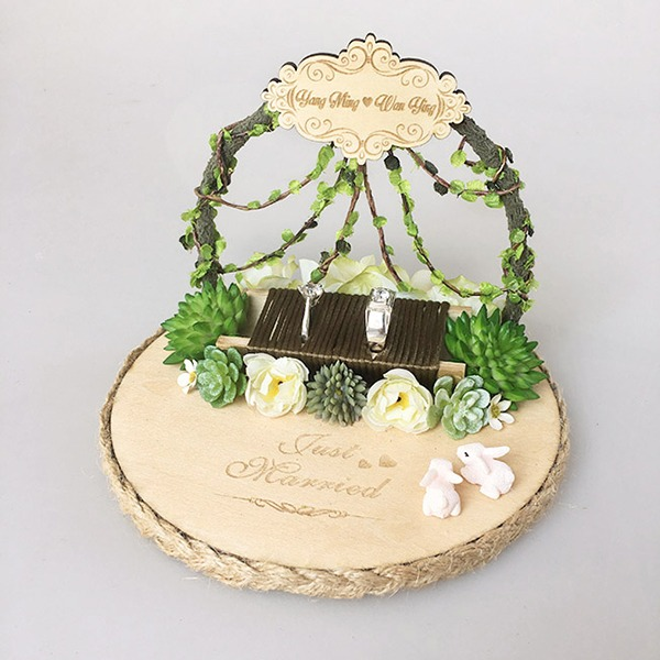Personalized Rustic Wood Ring Holder With Artifical Plants