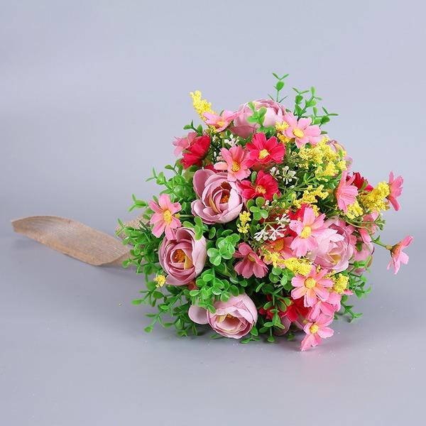 Simples e elegante Forma livre Tecido Buquês de noiva -