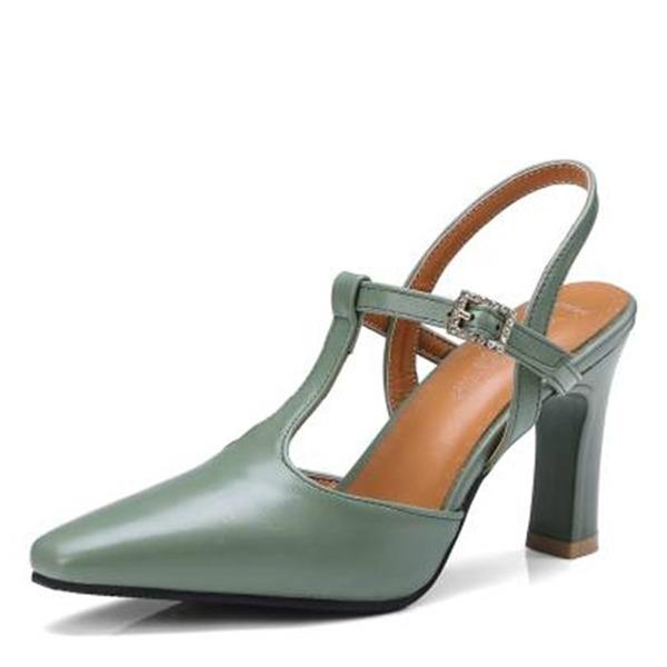Женщины кожа Устойчивый каблук На каблуках Закрытый мыс Босоножки с пряжка обувь
