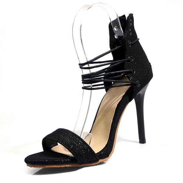 Femmes Similicuir Talon stiletto Sandales Escarpins À bout ouvert avec Dentelle chaussures