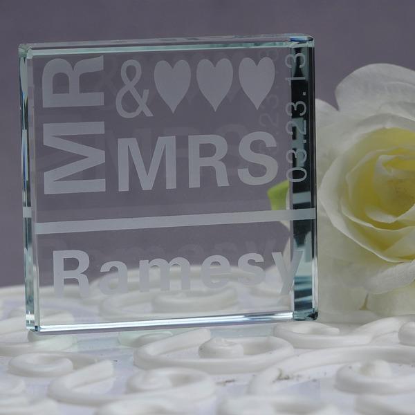 """Persoonlijke """"Mr & Mrs"""" Kristal Taart Cilinderhoed"""