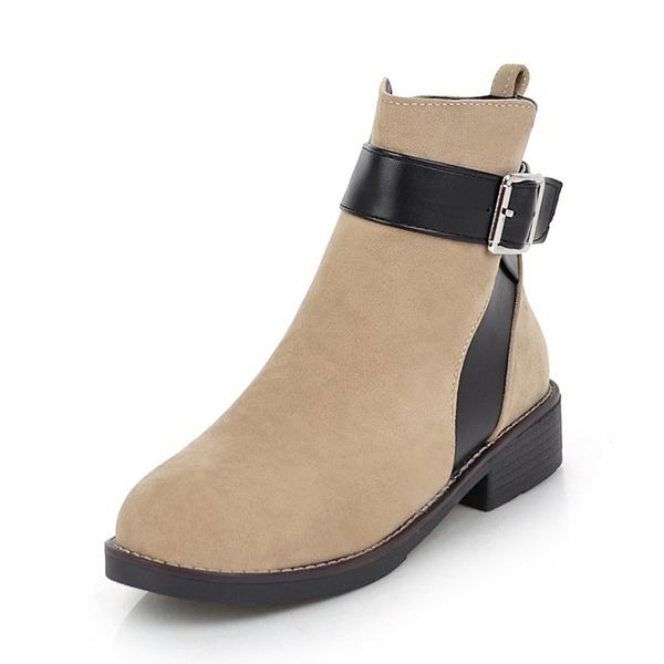 Kvinder Ruskind Lav Hæl Lukket Tå Støvler Ankelstøvler med Spænde sko