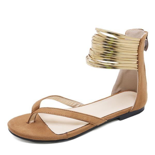 Vrouwen Suede Flat Heel Sandalen Flats Peep Toe Flip Flops met Rits schoenen
