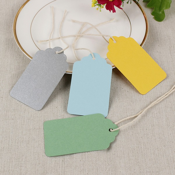 100pcs Wavy Top Side Rounded Blank Colorful Tags