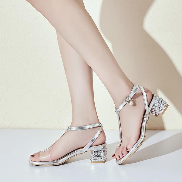 De mujer PU Tacón ancho Sandalias Encaje con Perlas de imitación Hebilla Tacones con joya zapatos