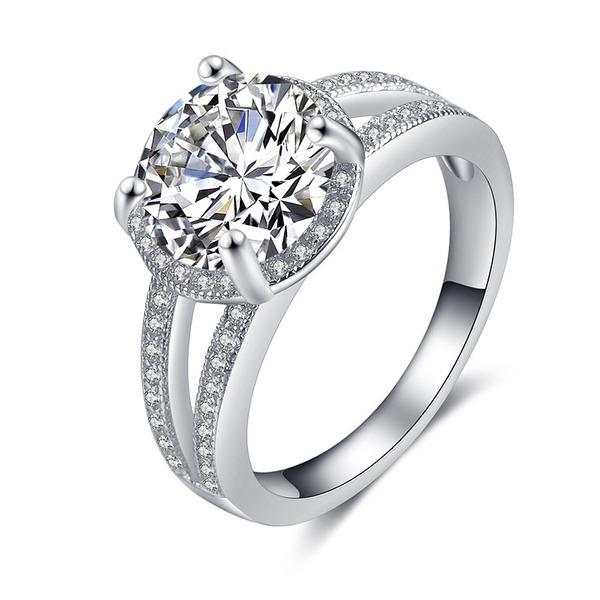 Senhoras Clássico 925 prata esterlina Anéis Ela/Amigos/Menina das flores