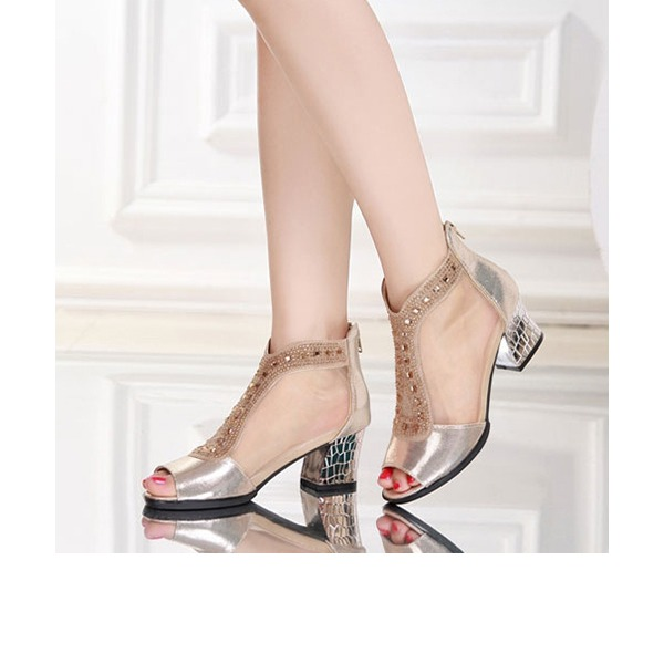 De mujer Cuero Tejido Botas Danza latina con Rhinestone Zapatos de danza