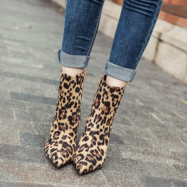 Women's Suede Stiletto Heel Pumps Ankle Boots With Animal Print Zipper shoes