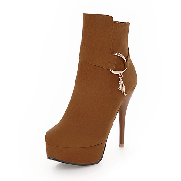 Women's Suede Stiletto Heel Boots Ankle Boots With Buckle shoes