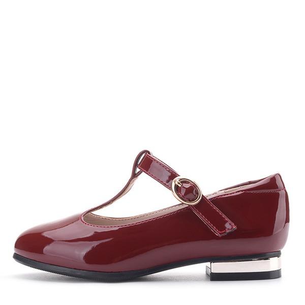 Jentas Round Toe Lukket Tå Leather flat Heel Sandaler Flate sko Flower Girl Shoes