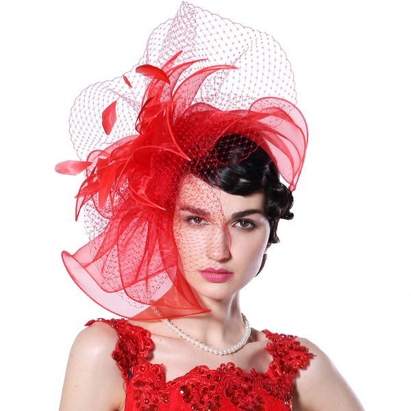 Signore Speciale/Affascinante/Squisito Del organza con Piuma/Tyll Fascinators/Kentucky Derby Hats/Cappelli da Tea Party