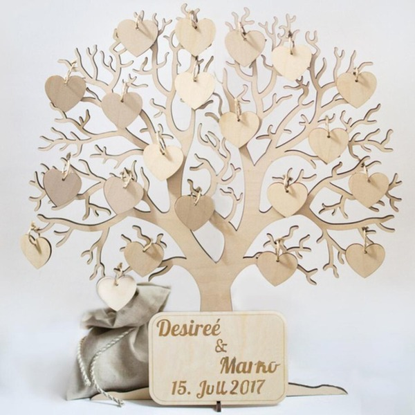 """""""Naše svatba Tree"""" Dřevo Kniha hostů"""
