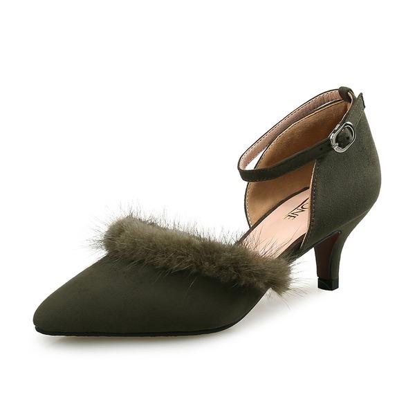 Femmes Velours Talon stiletto Escarpins avec Fourrure chaussures