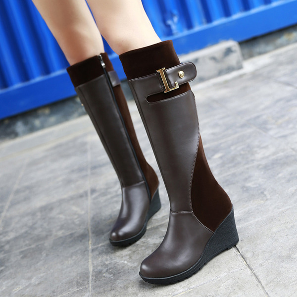 Women's PU Wedge Heel Pumps Platform Boots Knee High Boots With Buckle Zipper shoes