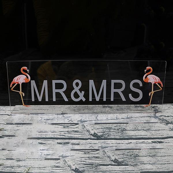 """Härlig/""""Mr & Mrs"""" Rektangulära Akryl Place Korthållare (Set av 2)"""