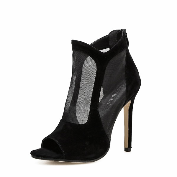 Femmes Suède Mesh Talon stiletto Escarpins Bottes À bout ouvert Bottines chaussures