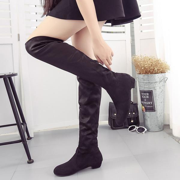 Mulheres Camurça Salto baixo Fechados Botas Bota em cima do joelho sapatos
