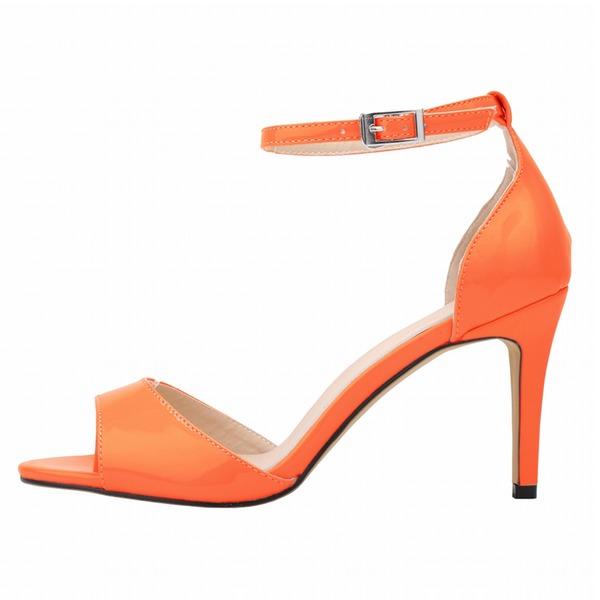 Frauen Lackleder Stöckel Absatz Sandalen Peep Toe Schuhe