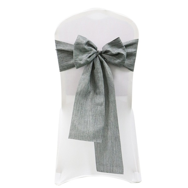 Simple Solid Color Cotton Chair Ribbon Sash (set of 10)