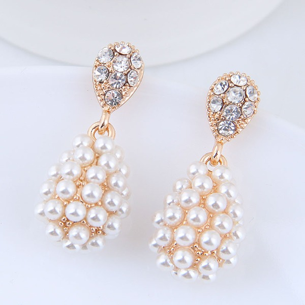 Beautiful Alloy Rhinestones Imitation Pearls With Rhinestone Women's Fashion Earrings