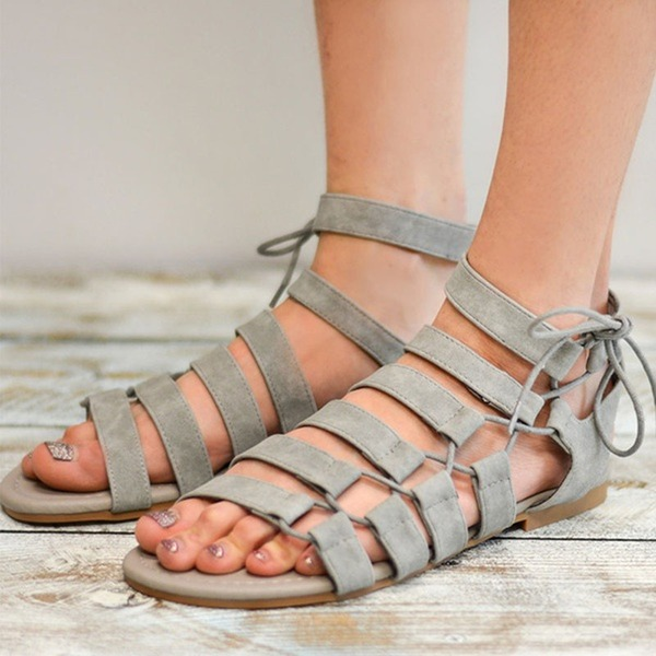 Women's Suede Flat Heel Sandals Flats With Lace-up shoes