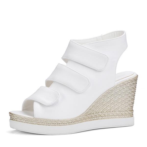 Women's PU Wedge Heel Sandals Wedges Peep Toe Slingbacks With Velcro shoes