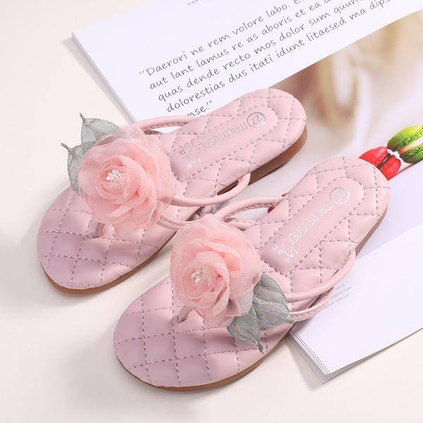 Girl's Peep Toe Microfiber Leather Flats Slippers With Flower