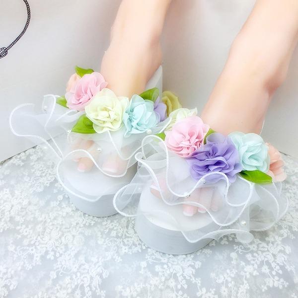 Femmes Son de maïs Talon compensé Compensée Chaussons avec Une fleur chaussures