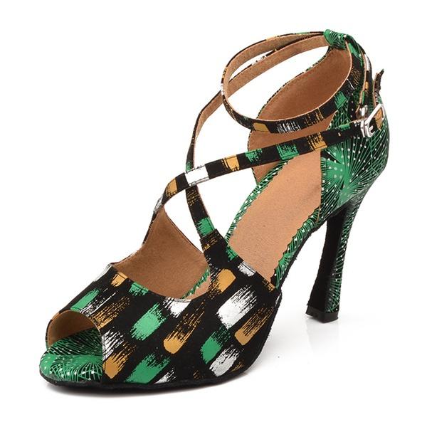 Mulheres Couro Camurça Saltos Latino Sapatos de dança