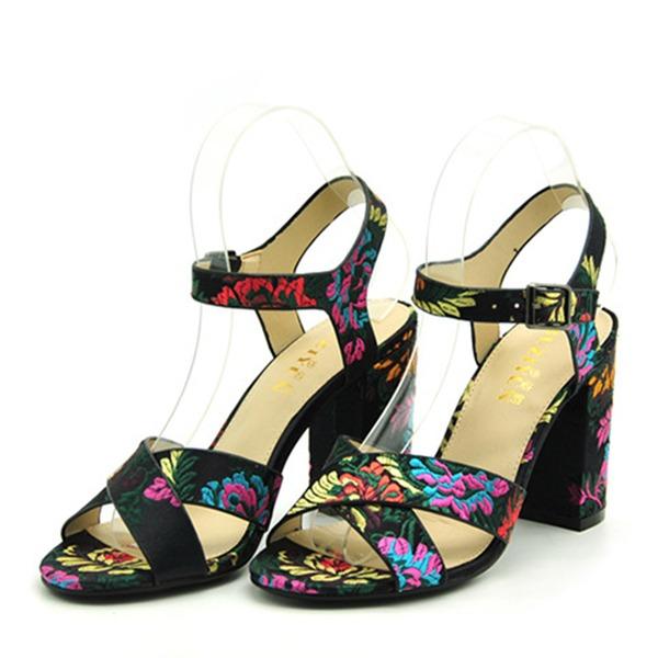 Naisten Maissileseet Chunky heel Sandaalit Avokkaat Peep toe Kantiohihnakengät jossa Solki kengät