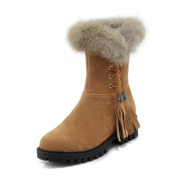 Kvinder Ruskind Lav Hæl Lukket Tå Støvler Mid Læggen Støvler Snestøvler med Tassel Pels sko