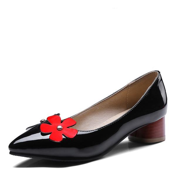 Donna Pelle verniciata Tacco spesso Stiletto Punta chiusa con Fiore scarpe