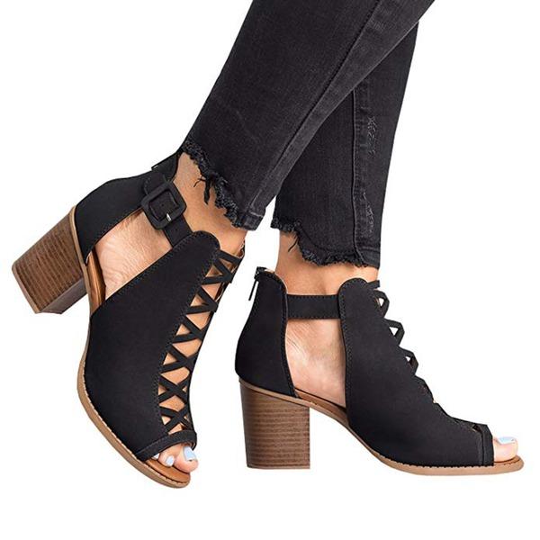 Vrouwen PU Chunky Heel Sandalen Pumps met Hol-out schoenen