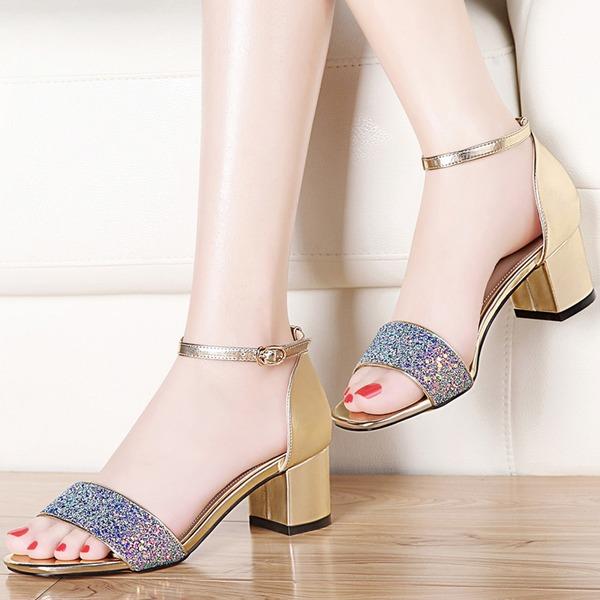 Kvinder Mousserende Glitter Lav Hæl Kigge Tå sandaler