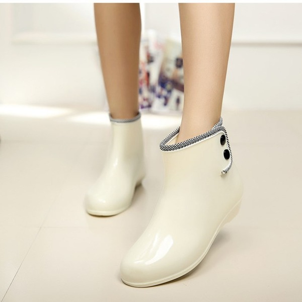 Women's PVC Low Heel Closed Toe Boots Ankle Boots Rain Boots With Rivet shoes