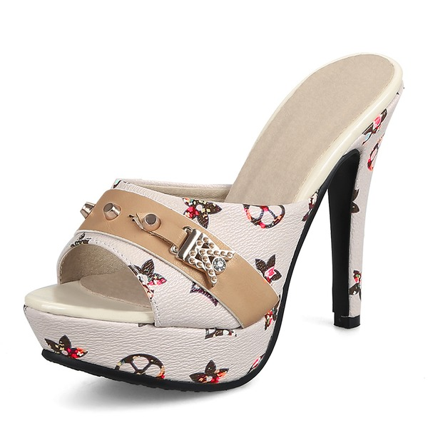 Kadın PU İnce Topuk Sandalet Pompalar Terlik Ile Perçin ayakkabı
