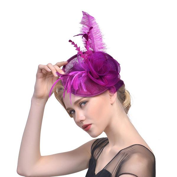 Senhoras Bonito/Elegante Algodão com Pena/Flor de seda/Tule Fascinators/Kentucky Derby Bonés/Chapéus do tea party
