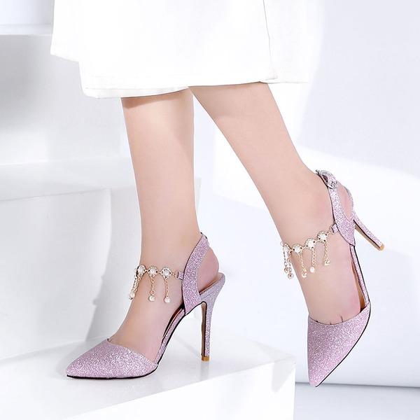 Женщины кожа Высокий тонкий каблук с блестками