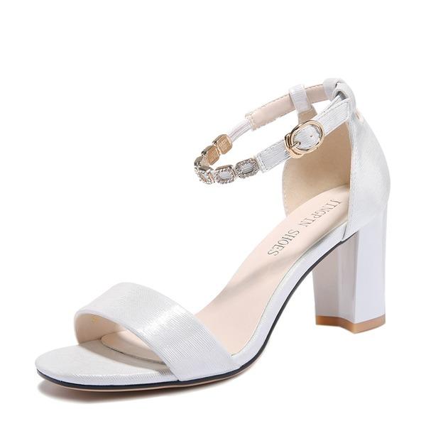 Frauen PU Stämmiger Absatz Sandalen Peep Toe mit Schnalle Schuhe