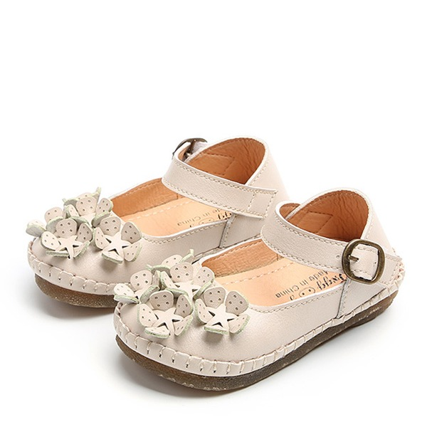 Pigens Round Toe Lukket Tå First Walker Leatherette Flad Hæl Fladsko Flower Girl Shoes med Velcro Blomst