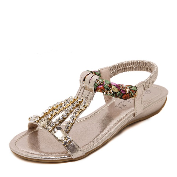 Frauen Kunstleder Flascher Absatz Flache Schuhe Peep-Toe Sandalen Slingpumps mit Kristall Perle